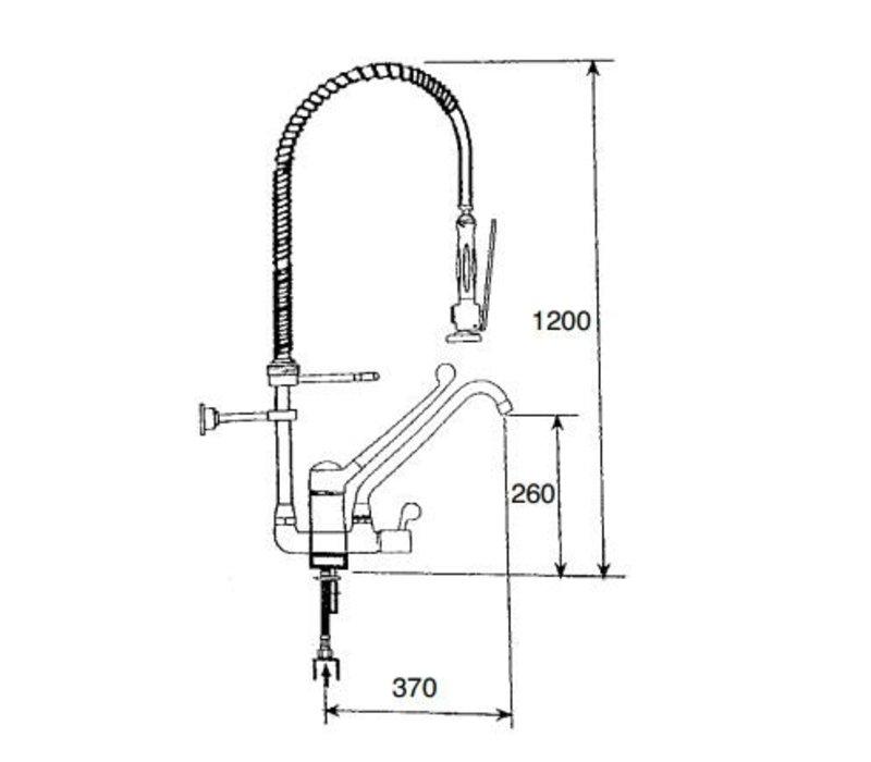XXLselect Pre-Rinse Unit incl elbow tap - INOX - flexible metallic connectors - (H) 1200mm