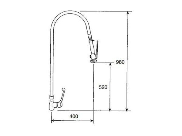 XXLselect Vorspülenmaßeinheit - 16Liter / Minute - Edelstahl - (H) 980mm