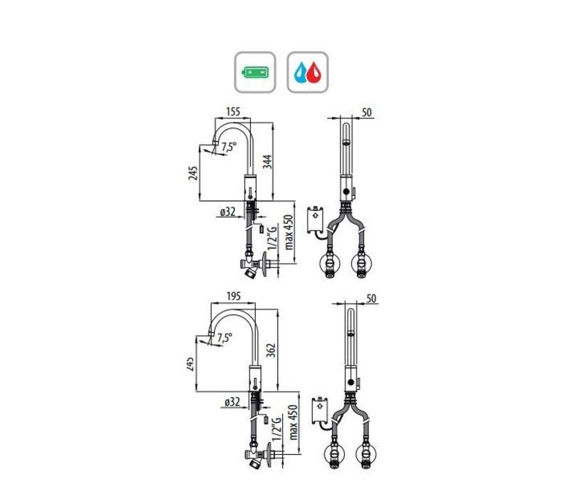 XXLselect Infrared Crane arcomix plus BT - INOX - spout 155 / 195mm - 6Liter / Minute - (H) 322/362 mm