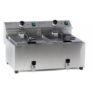Hendi Electric Fryer | 2x8 Liter | With Bleed taps | 2x3,5kW | 550x470x (H) 325mm