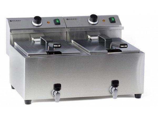 Hendi Electric Fryer | 2x8 Liter | With Bleed taps | 2x3,5kW | 550x470x (H) 325mm