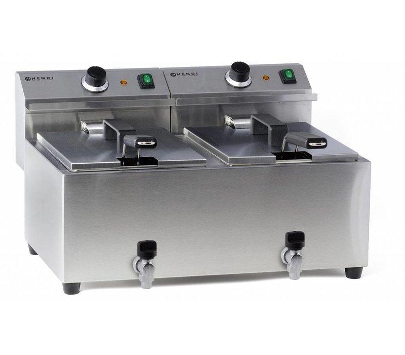 Hendi Elektrische Friteuse | 2x8 Liter | Met Aftapkranen | 2x3,5kW | 550x470x(H)325mm