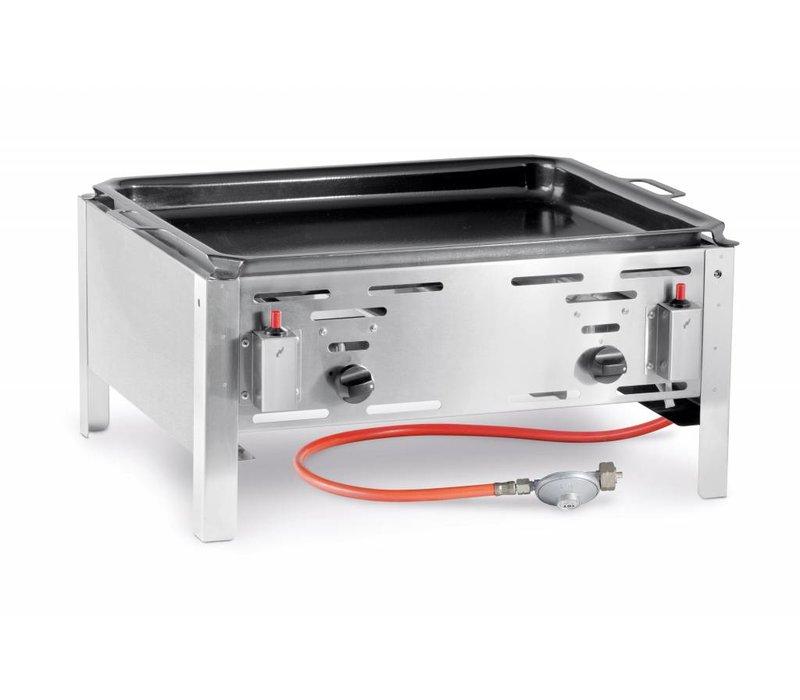 Hendi Gas Barbecue Hendi 154618 Bake Master Maxi | Bakplaat BBQ Tafelmodel | Compleet met Toebehoren