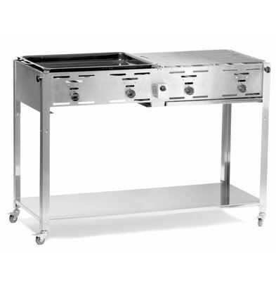 Hendi Gas Hendi 154 908   Grill Master BBQ Quatro + 2 Grill & Schedules 1 Griddle   1270x525x (H) 840mm