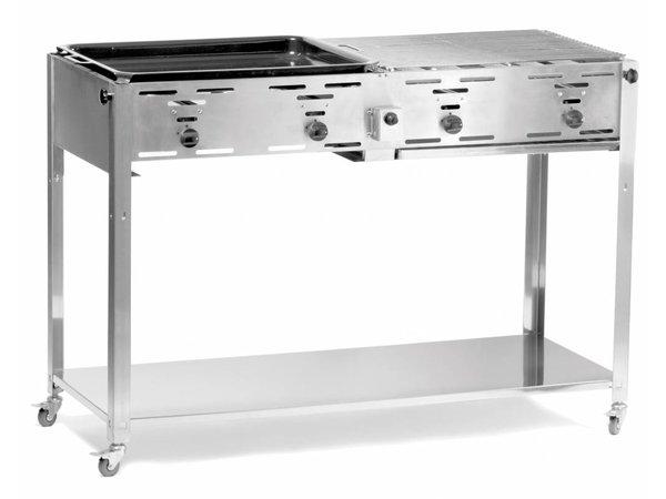 Hendi Gasbarbecue Hendi 154908 | Grill Master Quatro BBQ + 2 Grillroosters & 1 Bakplaat | 1270x525x(h)840mm