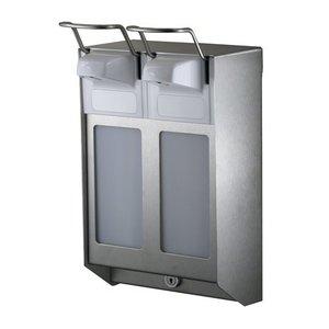 XXLselect DUO Zeep- & desinfectiemiddeldispenser RVS - 2 Maten - Instelbaar in 0,8/1,5/2,0ml