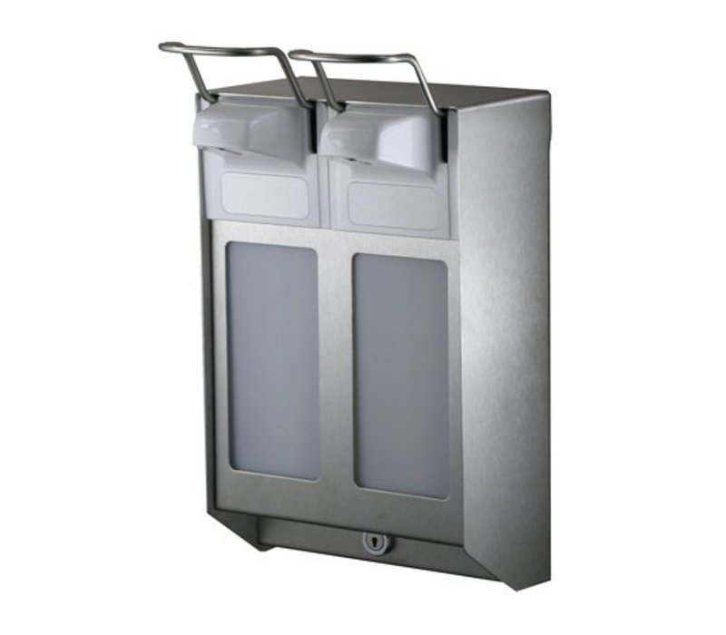 XXLselect DUO Seife und Desinfektionsmittelspender aus Edelstahl - 2 Größen - verstellbar in 0,8 / 1,5 / 2,0ml