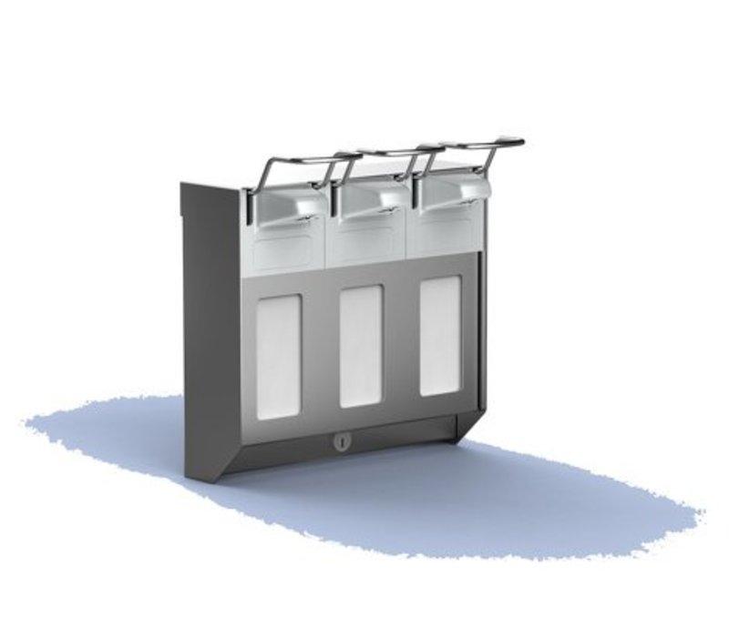 XXLselect Stainless Steel Soap & TRIO disinfectant dispenser KB - 2 sizes - 3x1000ml - 154x272x (h) 284mm