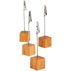 APS Vierteilige Karteninhaber | Gummi Holz | 3x3x (h) 12 cm