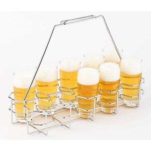 APS Bierblad / Bierrack | Voor 10 Glazen | Metaal Verchroomd | 40x16,5x(H)29cm