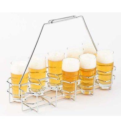 APS Bierblad / Bierrack   Voor 10 Glazen   Metaal Verchroomd   40x16,5x(H)29cm