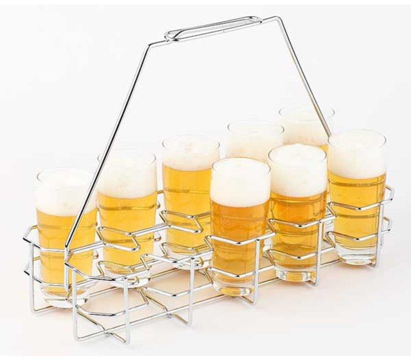 APS Bierblad / Bier-Rack | 10 Glas | Verchromtem Metall | 40x16,5x (H) 29cm
