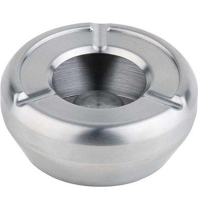 APS Edelstahl Aschenbecher | Stapelbar | Mit Windschutzscheibe | Ø10cm