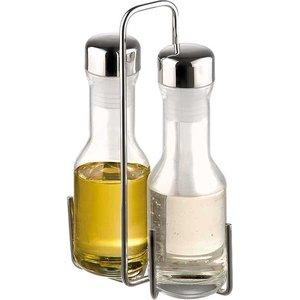 APS Essig / Öl Menage | Verchromtem Metall | 13,5x5,5x (H) 22cm