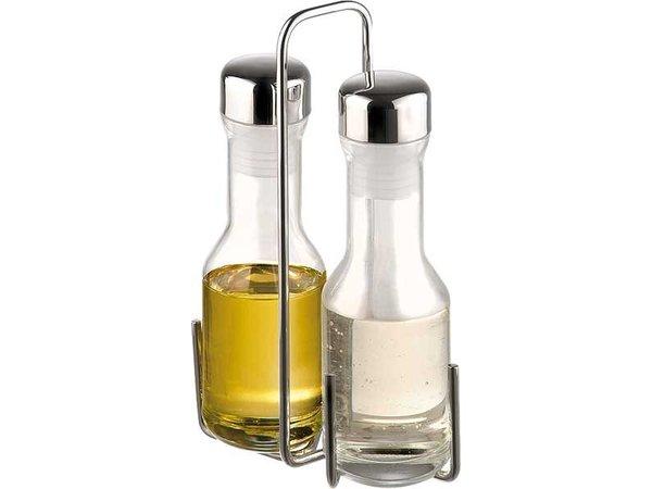 APS Vinegar / Oil Menage | Chromed Metal | 13,5x5,5x (H) 22cm