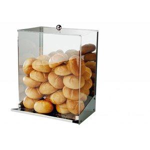 APS Broodjes Dispenser | RVS/Acryl | Met Kruimellade | Voor 40-50 Broodjes | 32,5x27,5x(H)42cm