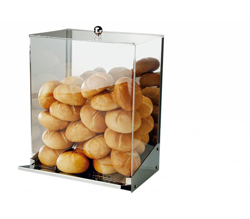 APS Rolls Dispenser | Stainless steel / Acrylic | With Crumb Tray | For 40-50 Rolls | 32,5x27,5x (H) 42cm