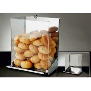 APS Broodjes Dispenser | RVS\Acryl | Met Kruimellade | Voor 65-70 Broodjes | 32,5x27,5x(H)56cm