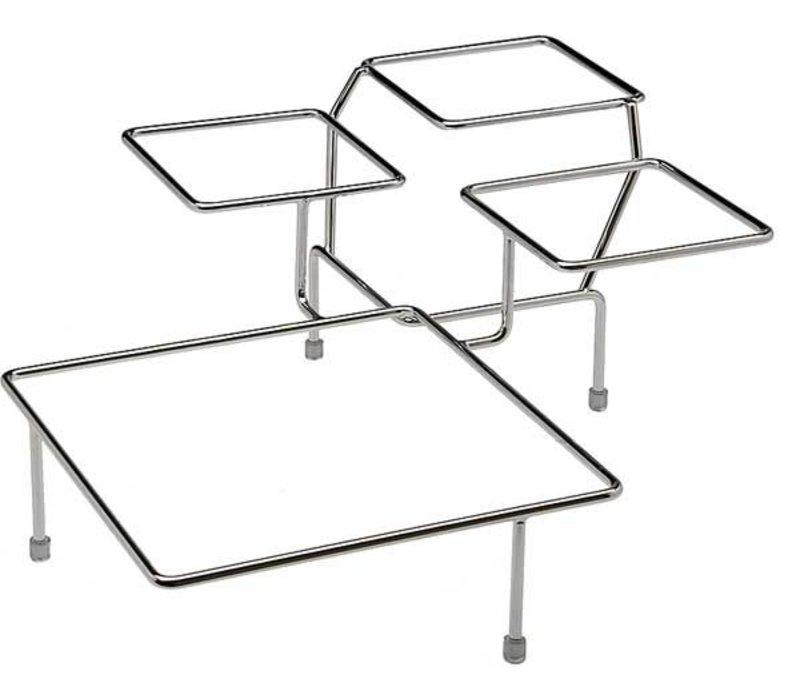 APS Buffet Frame Float Big | Metaal Verchroomd | Voor 4 Schalen | 39x39x(H)17cm