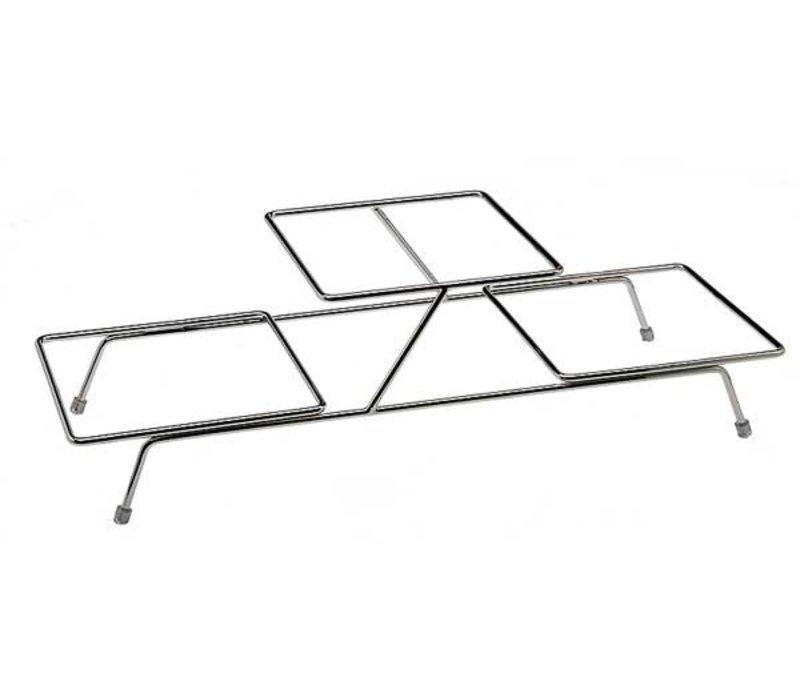 APS Buffet Frame Float Small   Metaal Verchroomd   Voor 3 Schalen   55,5x19x(H)15,5cm