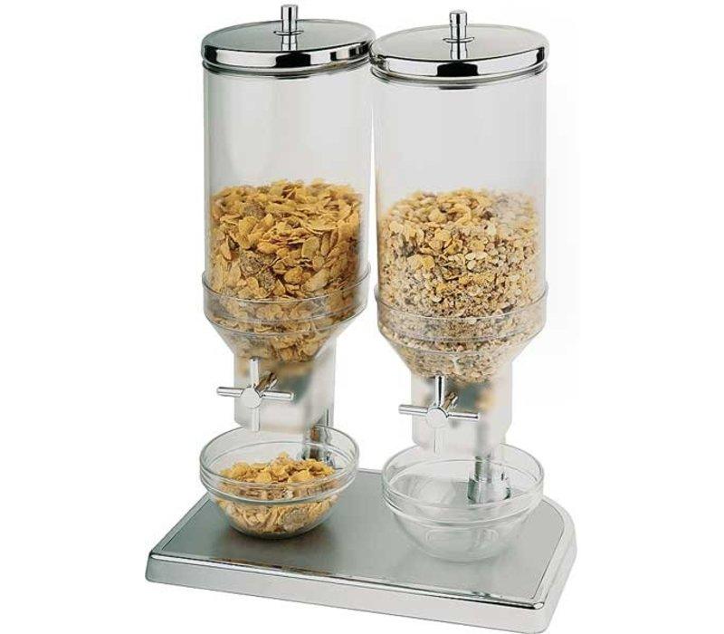 APS Cereal Dispenser Fresh & Easy | Stainless steel | 2x4,5 Liter | 220x35x (H) 520mm
