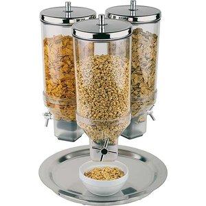 APS Cerealienspender | Dreh | Edelstahl-Schwenker Fuß | Inhalt 3x4,5 Liter | Ø380 mm, Höhe 540 mm