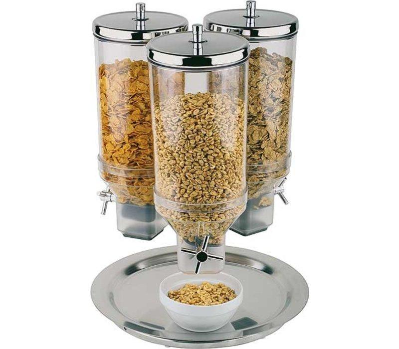 APS Cereal Dispenser   Rotation   RVS Draaibare Voet   Inhoud 3x4,5 Liter   Ø380 mm, Hoogte 540mm