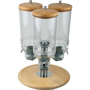 APS Cereal Dispenser | Rotation | Beukenhout | Inhoud 3x4,5 Liter | Ø380mm, Hoogte 540mm