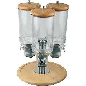APS Cereal Dispenser | Rotation | Beukenhout | Inhoud 3x4,5 Liter | Ø380mm, Hoogte 540mm