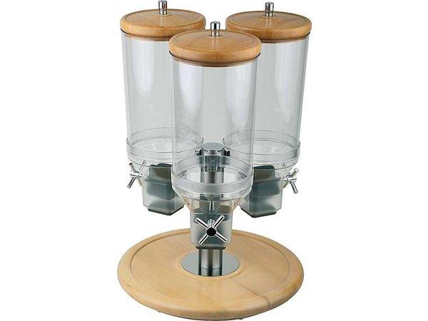 APS Cereal Dispenser | Rotation | Beech | Content 3x4,5 Liter | Ø380mm, height 540mm