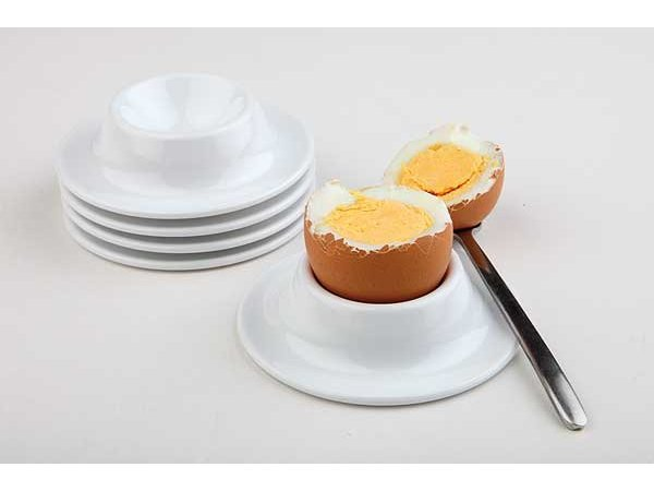 APS Ei Inhaber | 4-teilig | Melamin Weiß | Ø8,5 cm, Höhe 2 cm