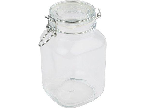 APS Voorraadpot Glas | 2 Liter | Luchtdichte Deksel | 12x12x(H)22cm