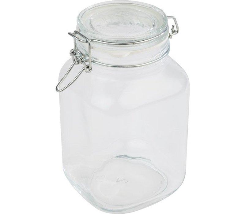 APS Glass Jar | 2 Liter | Luftdichten Deckel | 12x12x (H) 22cm