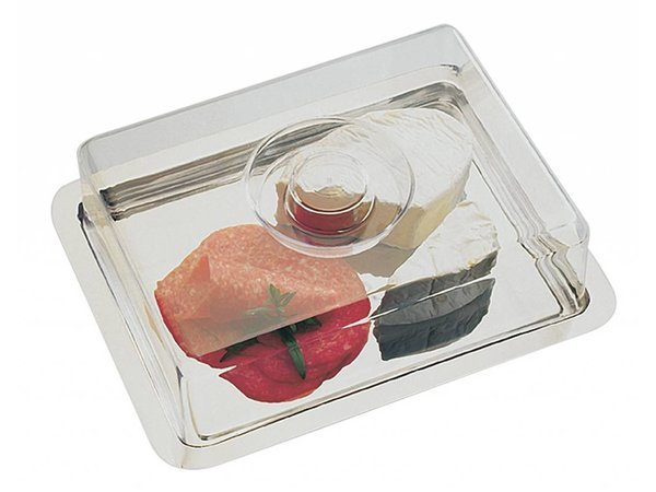 APS Two pie / cheese dish   Stainless Steel   270x180mm, height 70mm