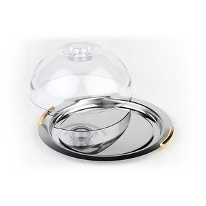 APS Cheese Bowl | 'Finesse' around | Stainless Steel | Gilt Handles | ca. Ø 220mm