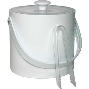 APS Ice bucket Round White | 3 Liter | With tongs | Ø20x (H) 18cm