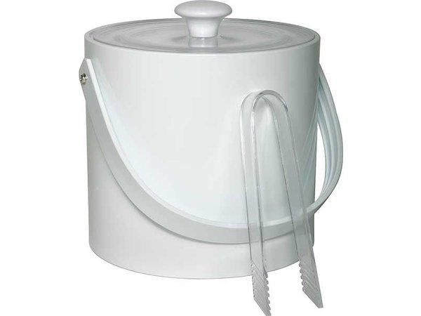 APS Ice bucket Round White | 3 Liter | With tongs | Ø20x (H) 18cm