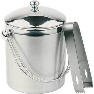 APS Ice bucket Round | Stainless steel | Including tongs | 1 Liter | Ø12x (H) 14cm