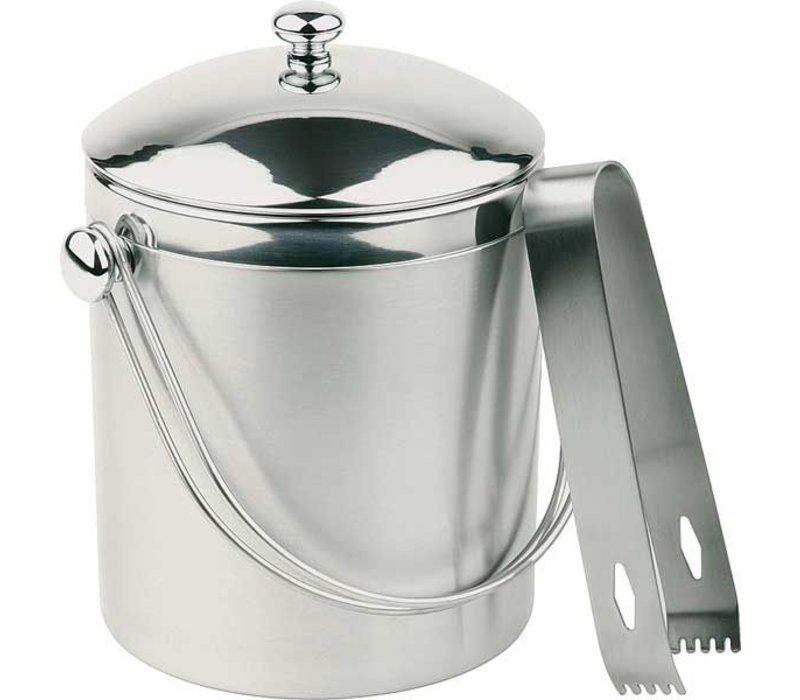 APS Ice bucket Round   Stainless steel   Including tongs   1 Liter   Ø12x (H) 14cm