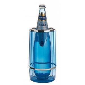 APS Bottle cooler Ice Blue - Round with Chrome Rim - Ø12cm x 23 (h) cm - GIFT BOX