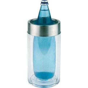 APS Flaschenkühler Ice Blue-Runde - Chrom-Rand - Ø11,5 cm x 23 (H) cm