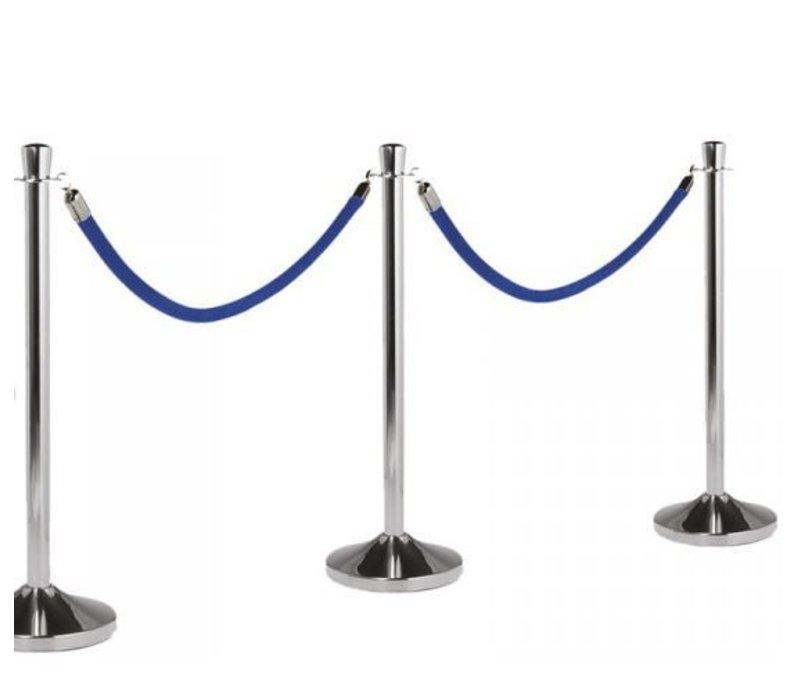 Securit Afzetkoord Chroom Blauw Velours - 1.5 meter   DELUXE