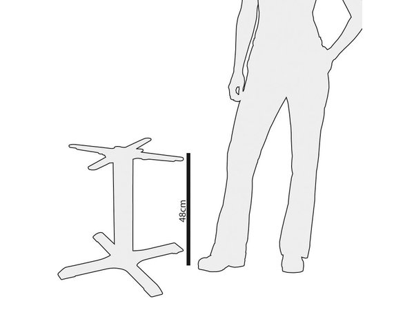 Bolero Table leg cast iron - Universal - Low 48cm - for table tops up to Ø 800mm or (B)