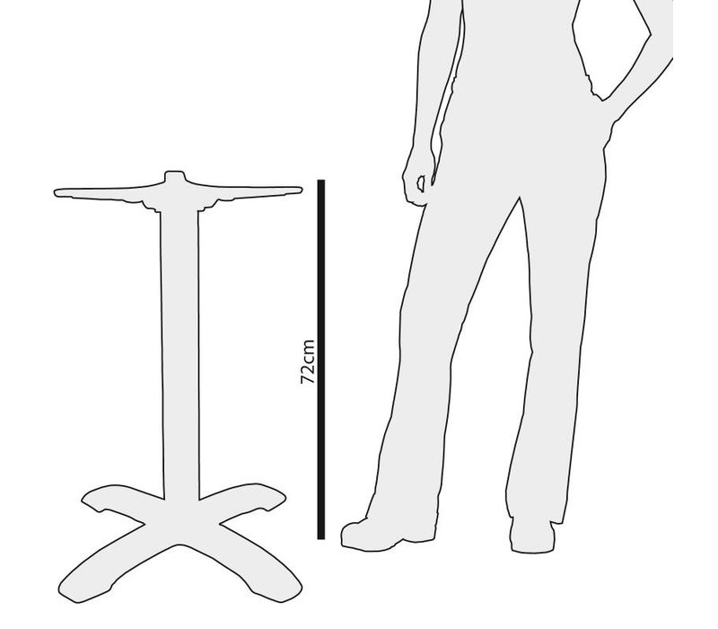 Bolero Tischbein Chrom - Square - Hohe 72cm - für Tischplatten bis Ø 800mm oder (B)