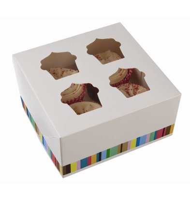 XXLselect Cupcake Boxes | XL | 4 Pieces | 150x150x (H) 75mm