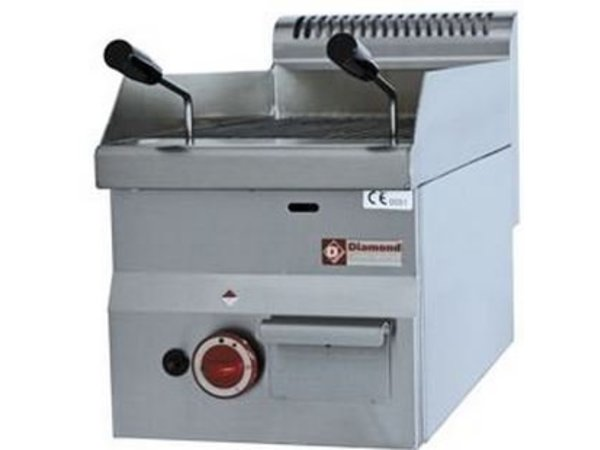 Diamond Lava Rock Grill Gas RVS - Tabletop - with Cooking grid - 30x60x (h) 28 / 40cm - 3.9KW