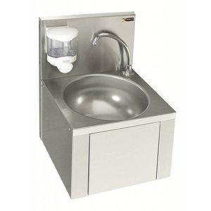 Sofinor Edelstahl-Waschbecken | Knie-Bedienung | Denn ohne Mixer | + Seifenspender | 384x353x (H) 524 mm