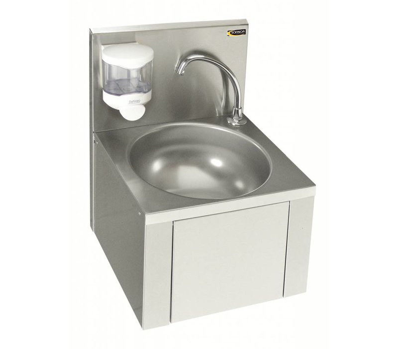 Sofinor Stainless Steel Sink | Knee Operation | For without Mixer | + Soap Dispenser | 384x353x (H) 524mm