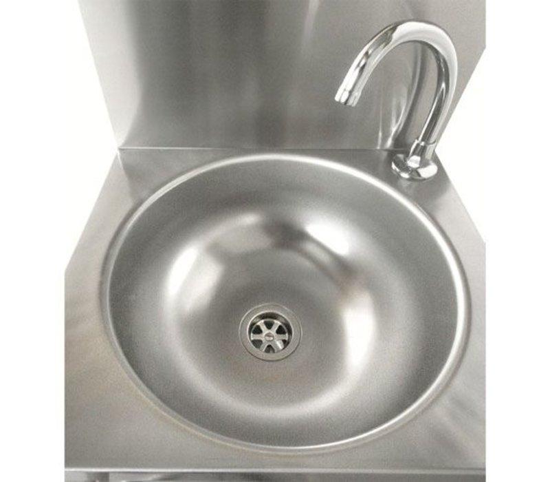Sofinor RVS Wasbak | Kniebediening | met Voormengkraan | Laag Waterverbruik | 384x353x(H)524mm