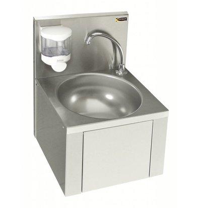 Sofinor Edelstahl-Waschbecken | Knie-Bedienung | Für Mixer | + Seifenspender | 384x353x (H) 524 mm